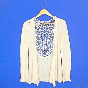 Anthropologie Cream Crochet Lace Back Cardigan